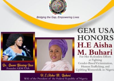 Dr. Queen Blessing via GEM-USA Awards H.E. Aisha Mohammadu Buhari and Launches the Book- We are the Blessings of Africa and the Movie-Mrs Adams in New York
